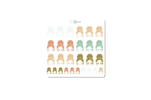 Bun Girl Expressions Sticker Sheet: Classic Coral