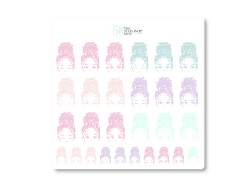 Bun Girl Spring Jewels Expressions Sticker Sheet