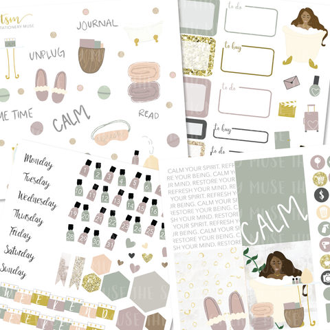 """CALM"" Self-Care Sticker Kit"