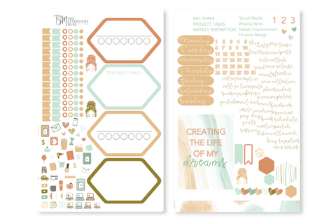 Classic Coral Weekly Sticker Kit | Business Planner Stickers