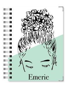 Mint Bun Girl 2021 Business Planner - Text Customization