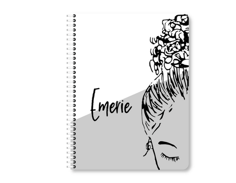 CUSTOMIZED Gray Bun Girl Notebook