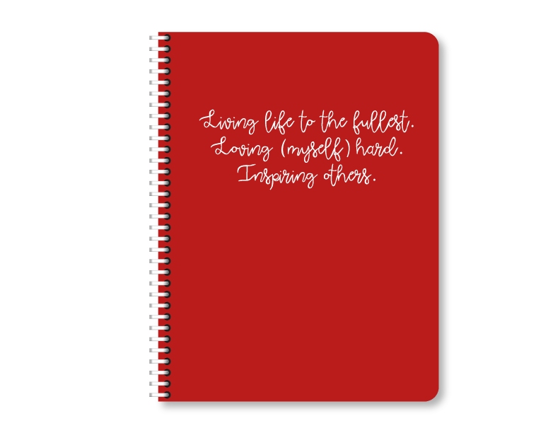 """Live Live Inspire"" Red Lined Notebook 
