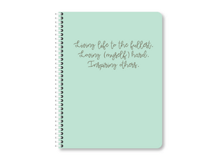 """Live Live Inspire"" Mini Mint Lined Notebook"
