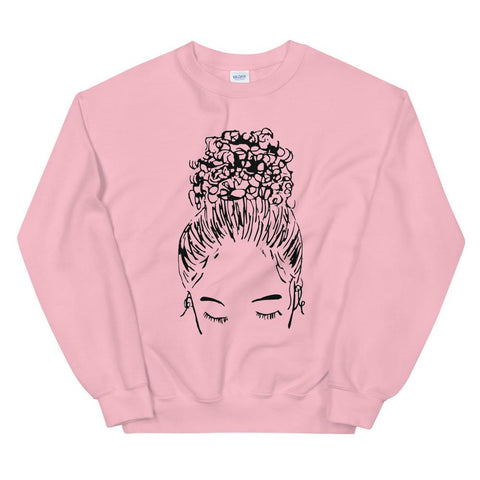 Bun Girl Sweatshirt - Pink