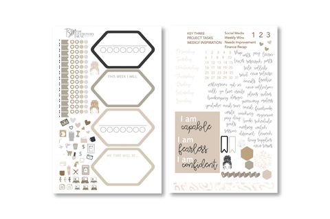 Nude Weekly Sticker Kit | Business Planner Stickers