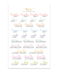 Cleaning Script Sticker Sheet - Pastel - The Stationery Muse