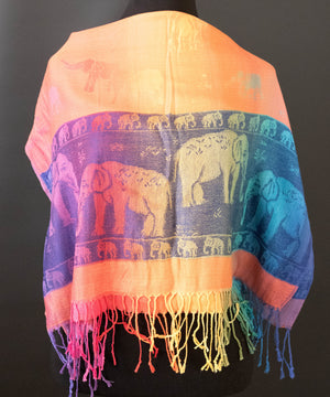 Rainbow Elephant Shawl