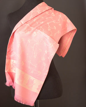 Pink and gold silk scarf