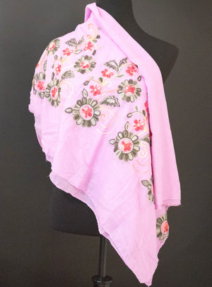 Cotton Candy Embroidered Shawl