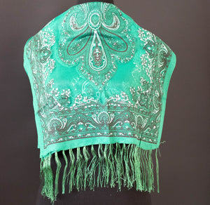 Emerald Green Paisley Sparkle Scarf