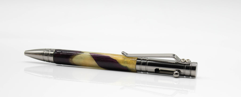 Chrome Bolt Action TechPen with Purpleheart and Resin