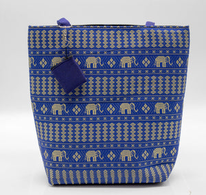 Blue and Gold Elephant Tote Bag