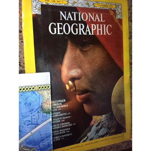 National Geographic Magazine November 1975 Map Of The World Columbus - Vintage Magazine