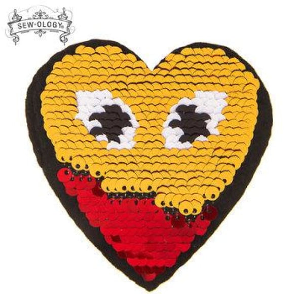 Reverse Heart Sequin Iron-On Applique - Crafters Supply