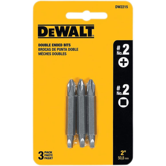 Roll over image to zoom in DEWALT DW2215 #2 Phillips and #2 Square Recess Double Ended Screwdriver Bit (3-Pack) - Tool