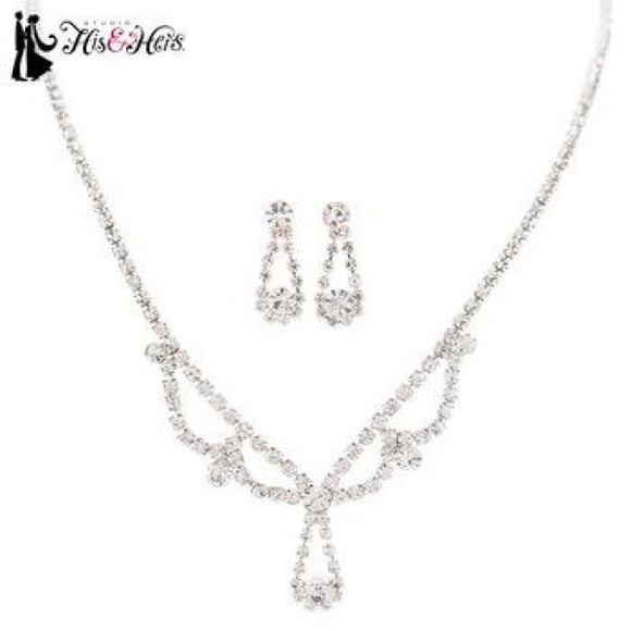 Silver Rhinestone Necklace & Earring Set #308387 - Fashion Jewelry