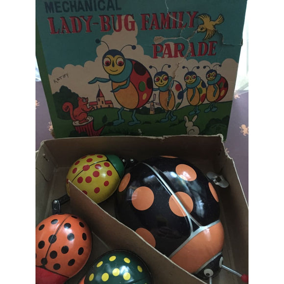 Vintage Collectible Mechanical Ladybug Family - Vintage Collectibles