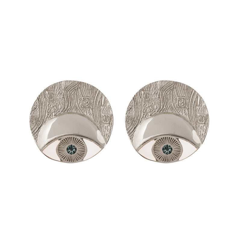 ADELE CIRCLE EARRINGS RHODIUM