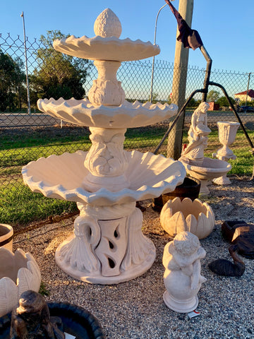 3 tier scollup fountain on Italian base with bacorn top