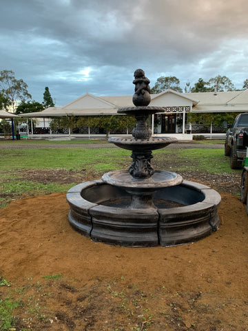 3 tier diamond fountain with traditional pond surround and poly tub insert
