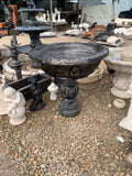 Large deep fancy bowl on tall lace base fountain bird bath planter