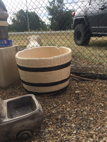 Large wine barrel planter