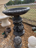 Floral base with Cambridge with fluted leg bird bath