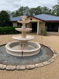 3 tier Italian fountain with doves wave pond surround and poly tub