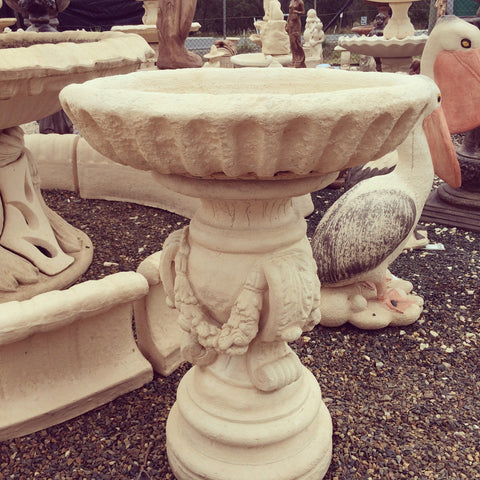 Bird bath fancy leg deep rough bowl