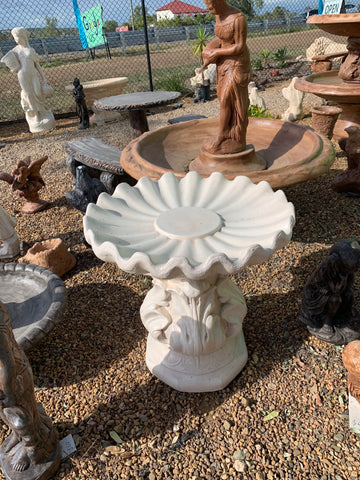 Floral base wavy bowl bird bath