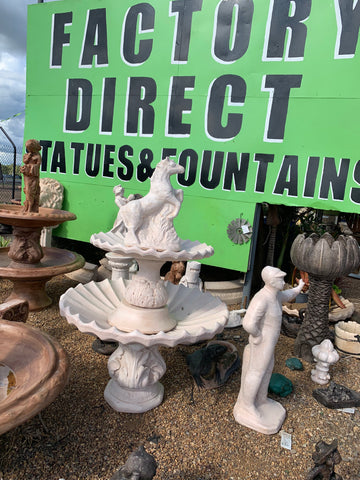 2 tier scollup fountain with rearing horse