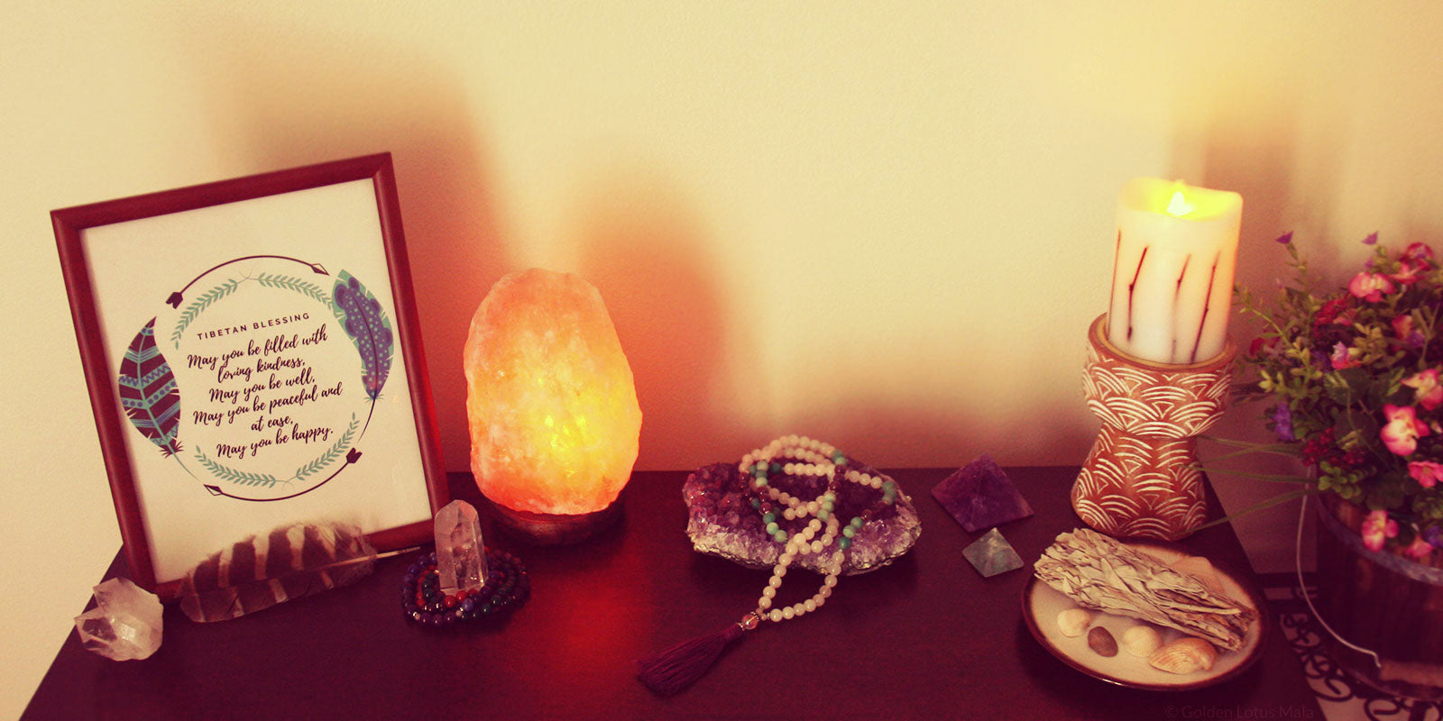 Meditation Altar with Mala Beads, Sage, Candles, and Inspirational Art