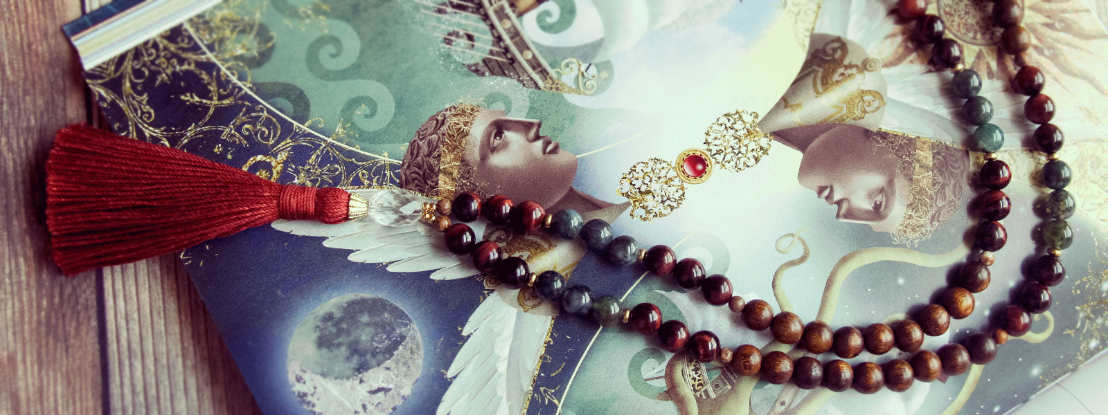 Mala Beads Necklace of Wood and Gemstone by Golden Lotus Mala