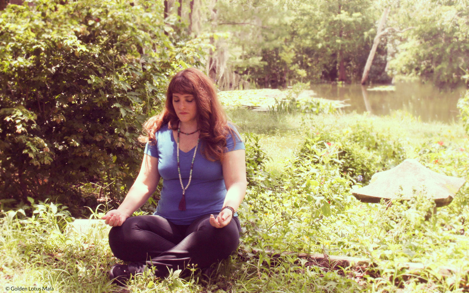 Meditating with Mala Beads at the pond