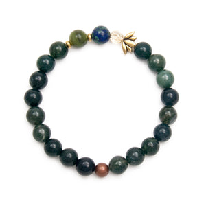 Moss Agate and Azurite Bracelet