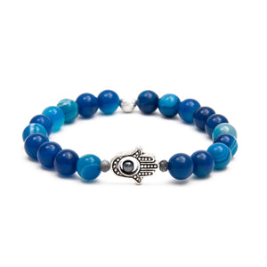 Protection Bracelet Blue Agate with Hamsa Hand Charm
