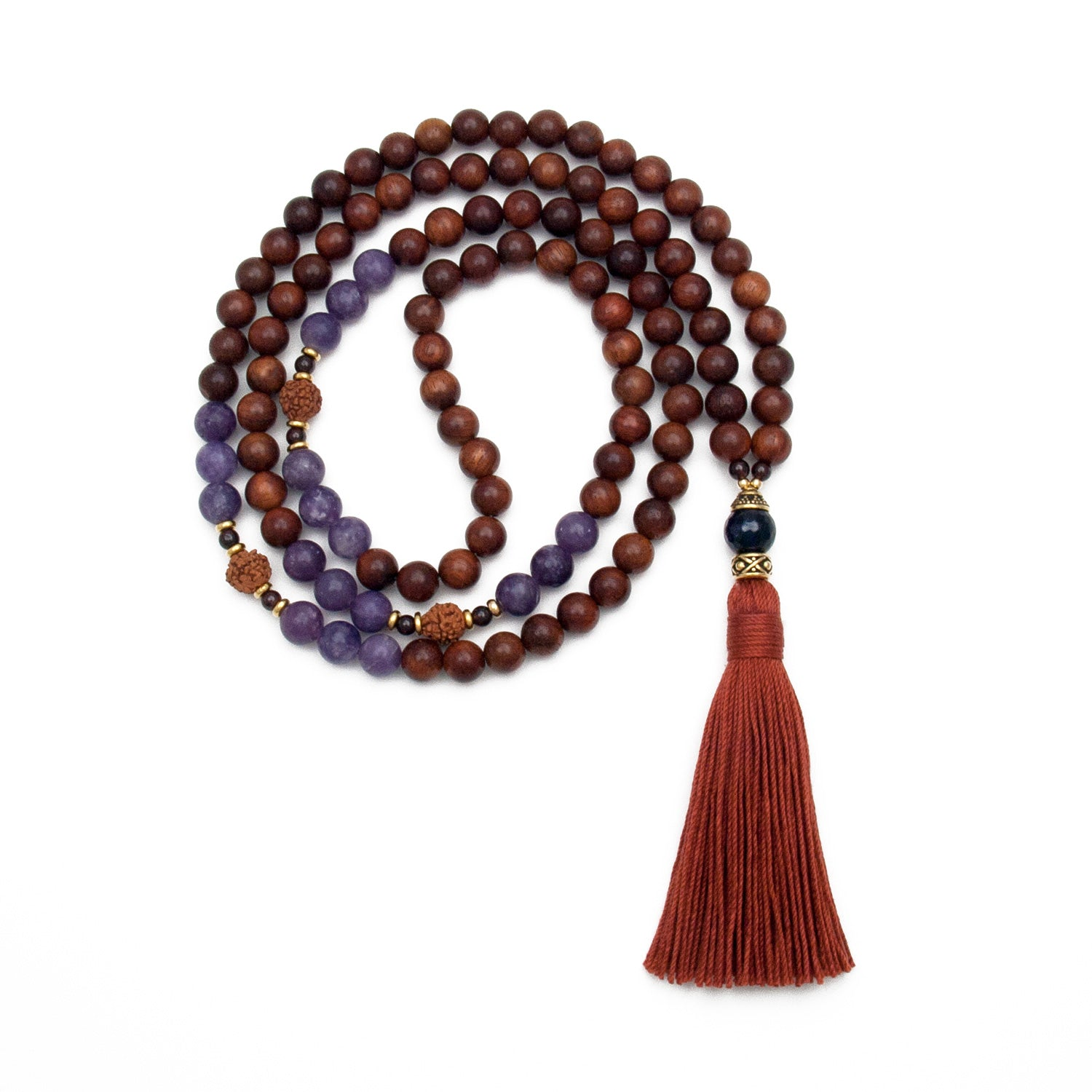 Insight Mala - Rudraksha, Rosewood, Lepidolite & Amethyst by Golden Lotus Mala