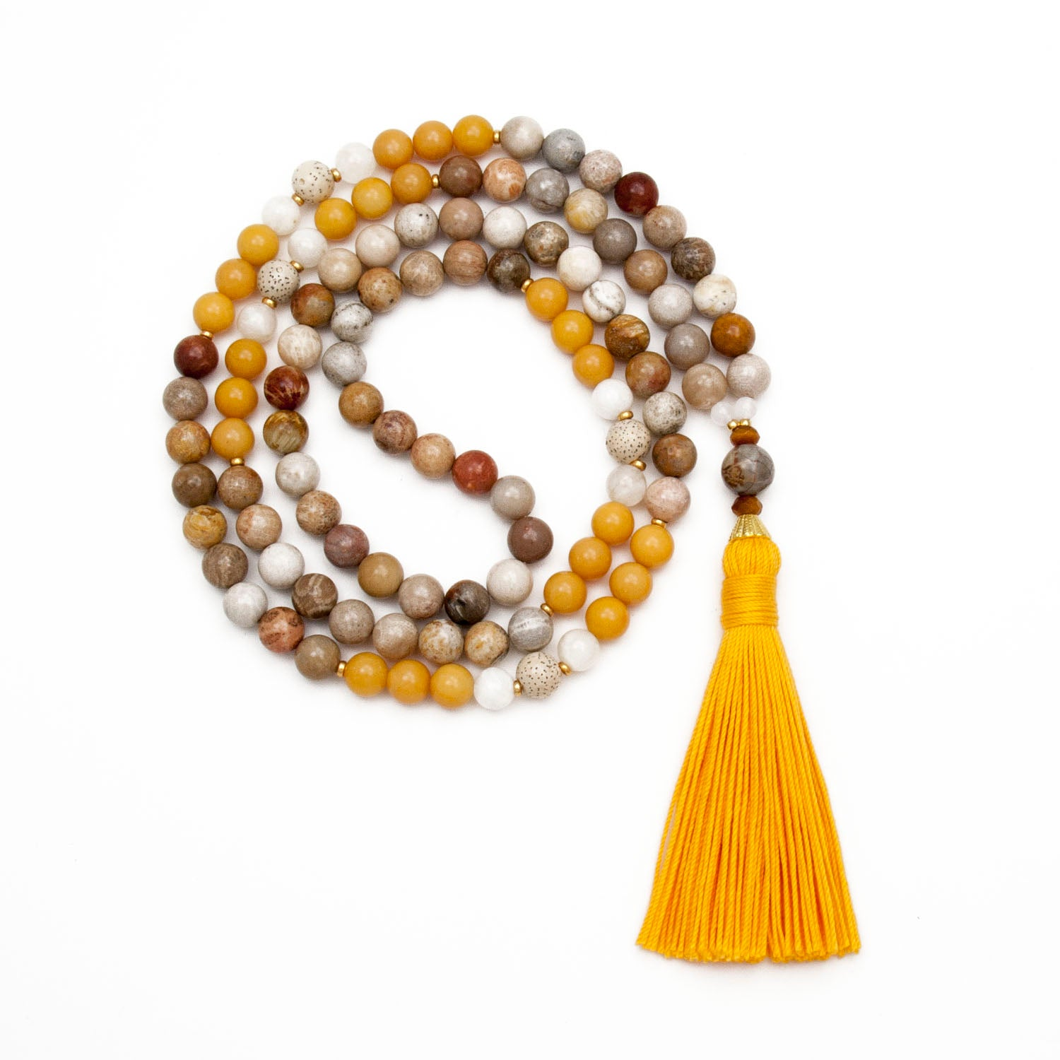 Surya Mala - Yellow Jasper & Moonstone