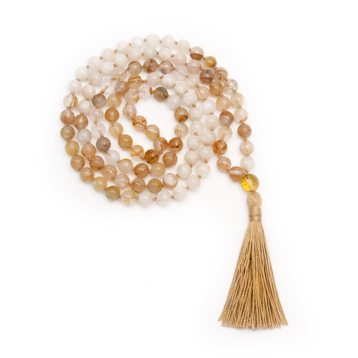 Moonstone and Citrine Mala Necklace