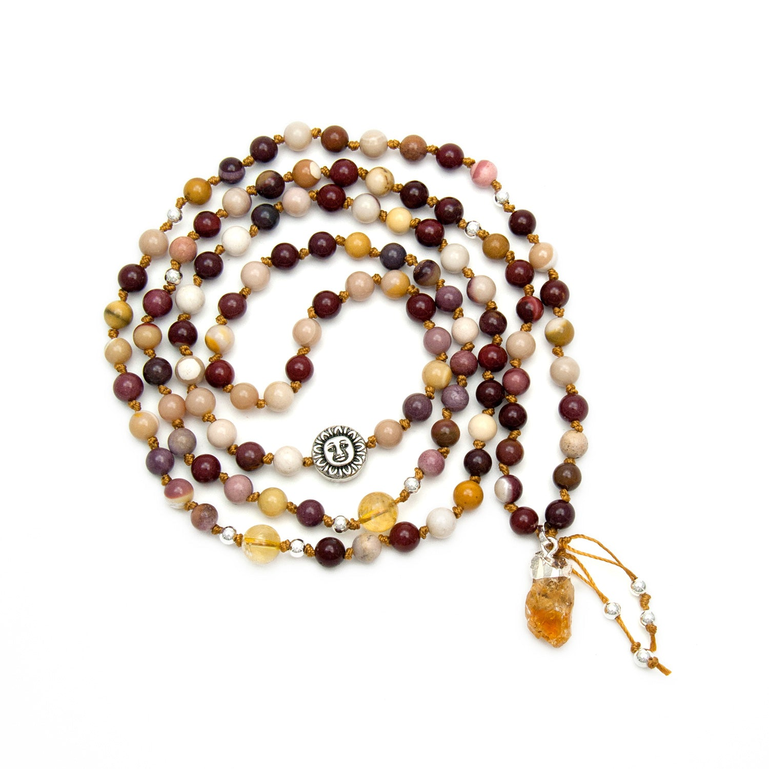 Eclipse Mala Necklace - Mookaite Jasper & Citrine by Golden Lotus Mala