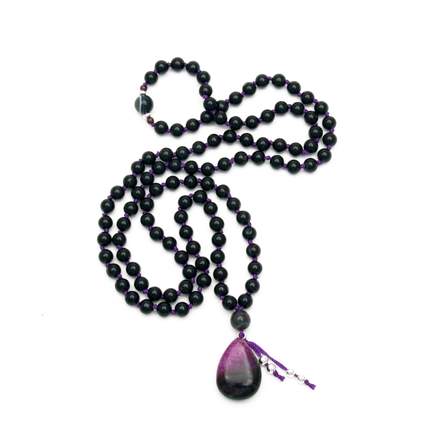 Black Onyx & Purple Agate Mala Beads by Golden Lotus Mala