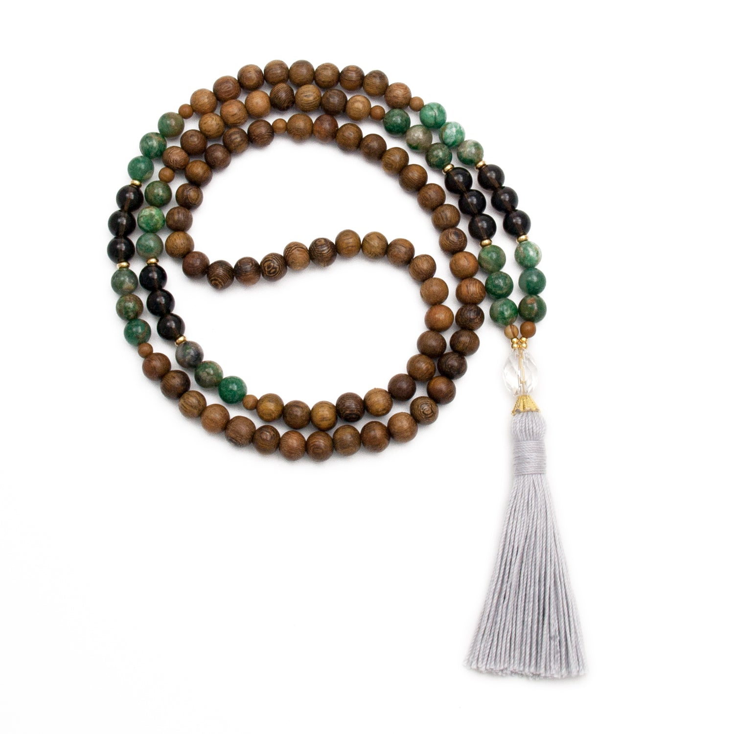 Libra Mala with Jade and Smoky Quartz