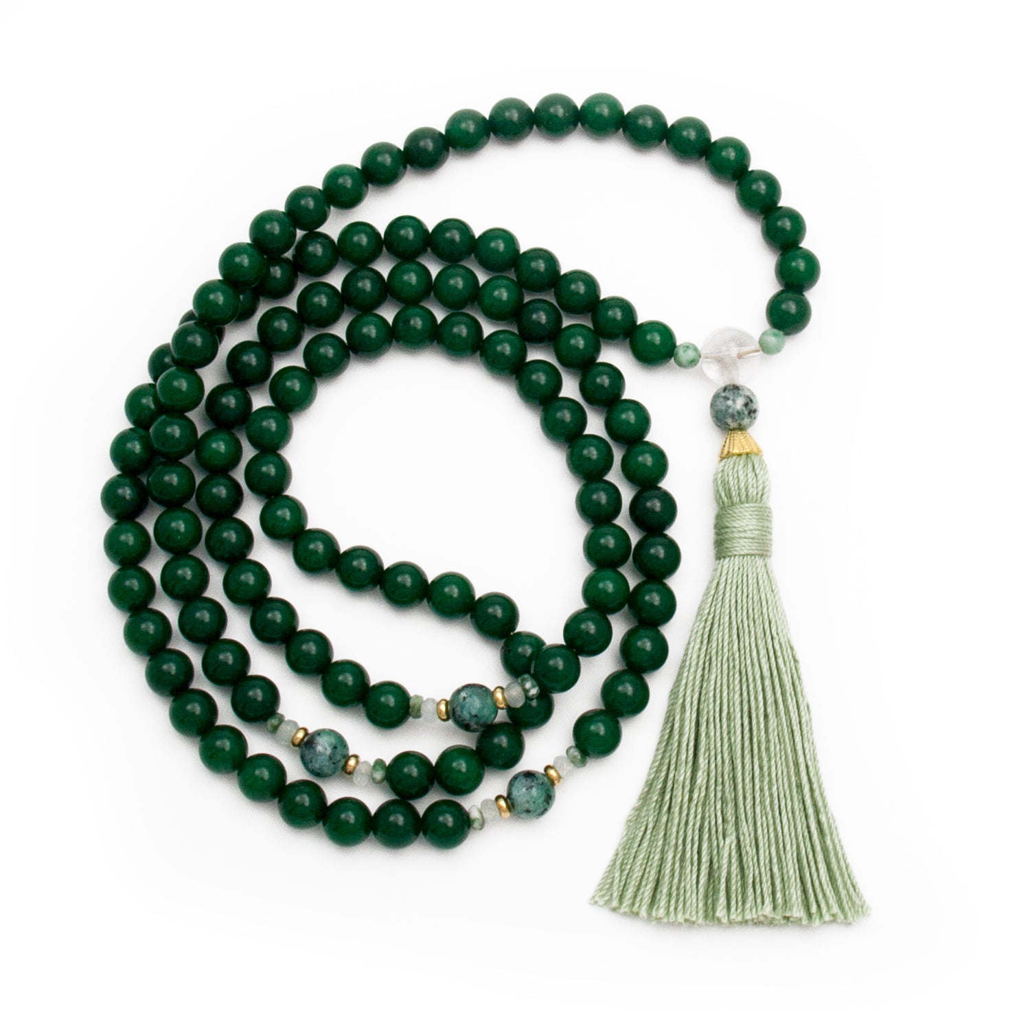 Jade Mala Beads by Golden Lotus Mala