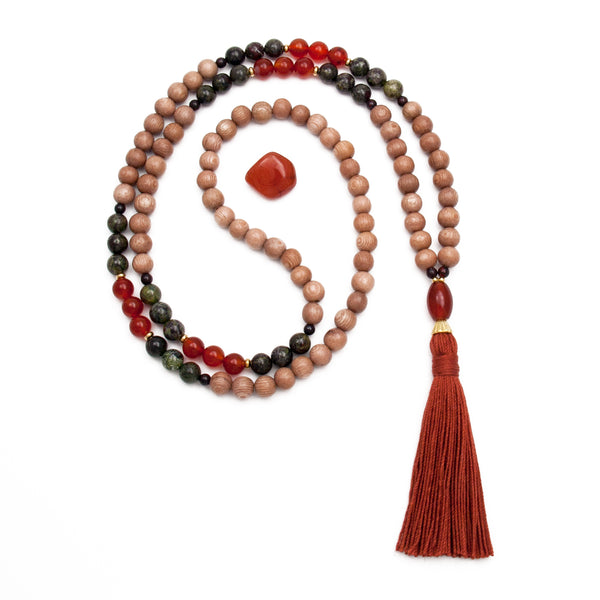 Rosewood Mala with Carnlian & Dragons Blood