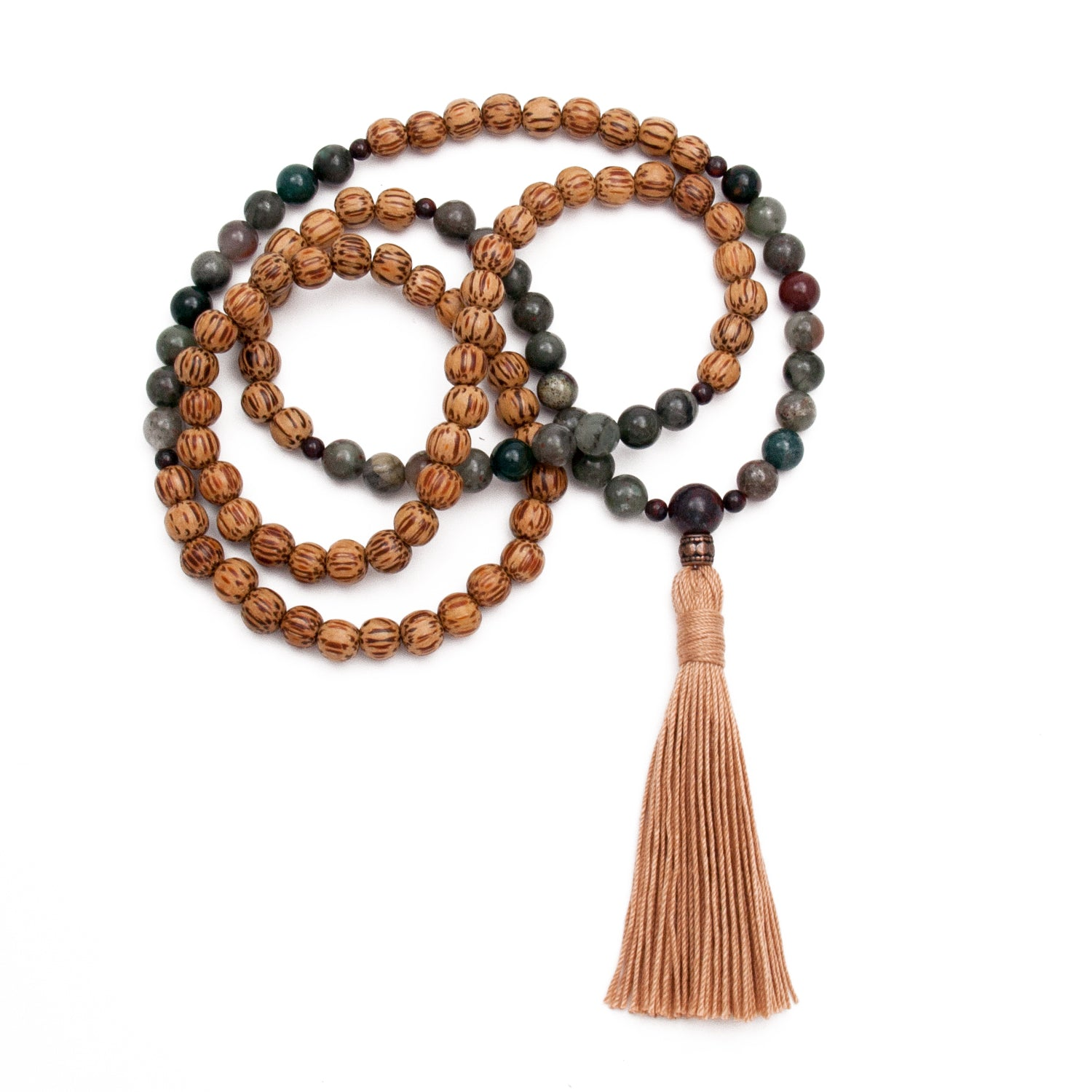Mala Necklace Bloodstone & Palmwood