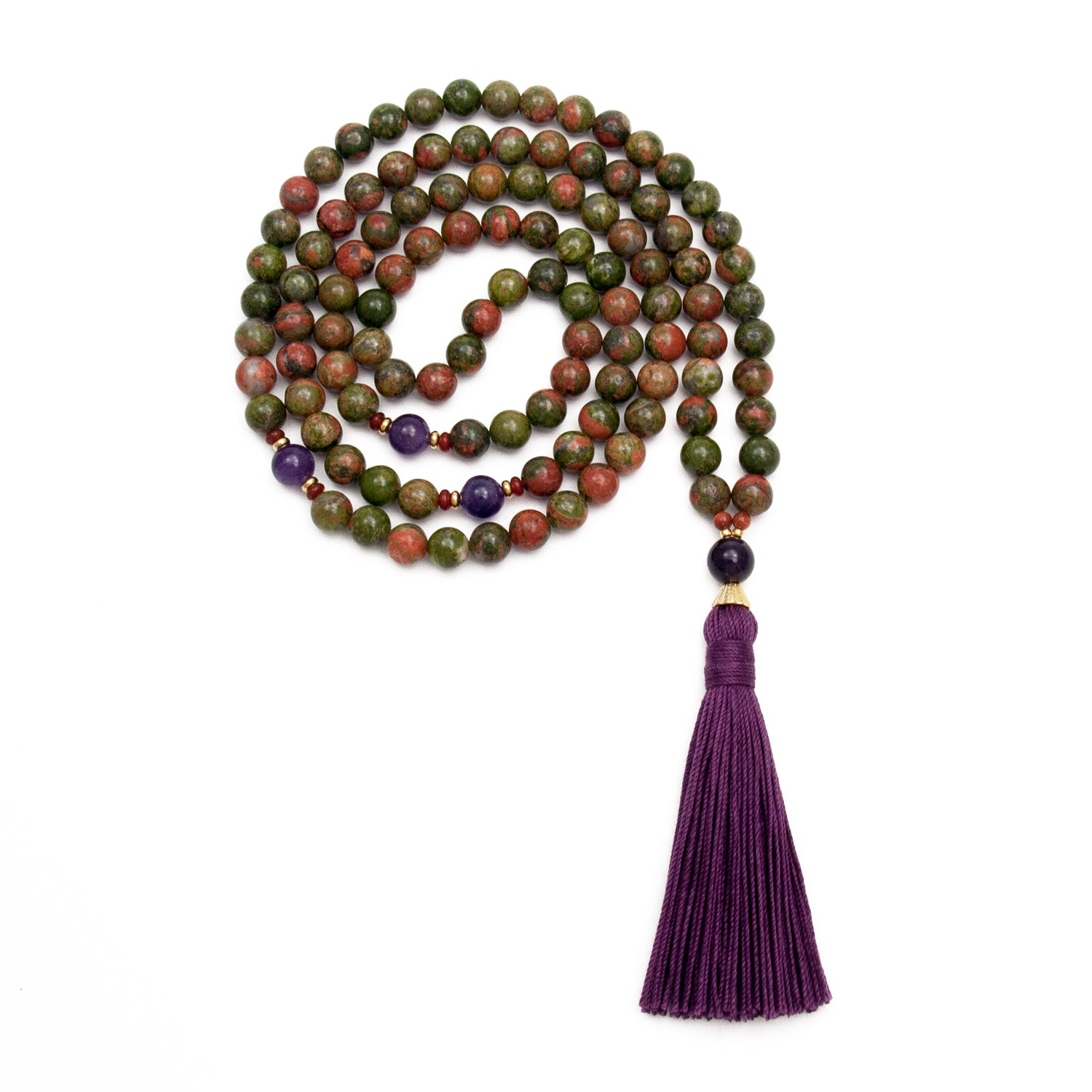 Unakite & Amethyst Mala Beads Handmade by Golden Lotus Mala