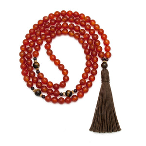 Carnelian Mala Necklace with Brown Tassel