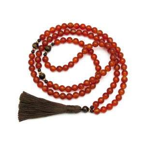 Carnelian Gemstone Mala with Tigers Eye