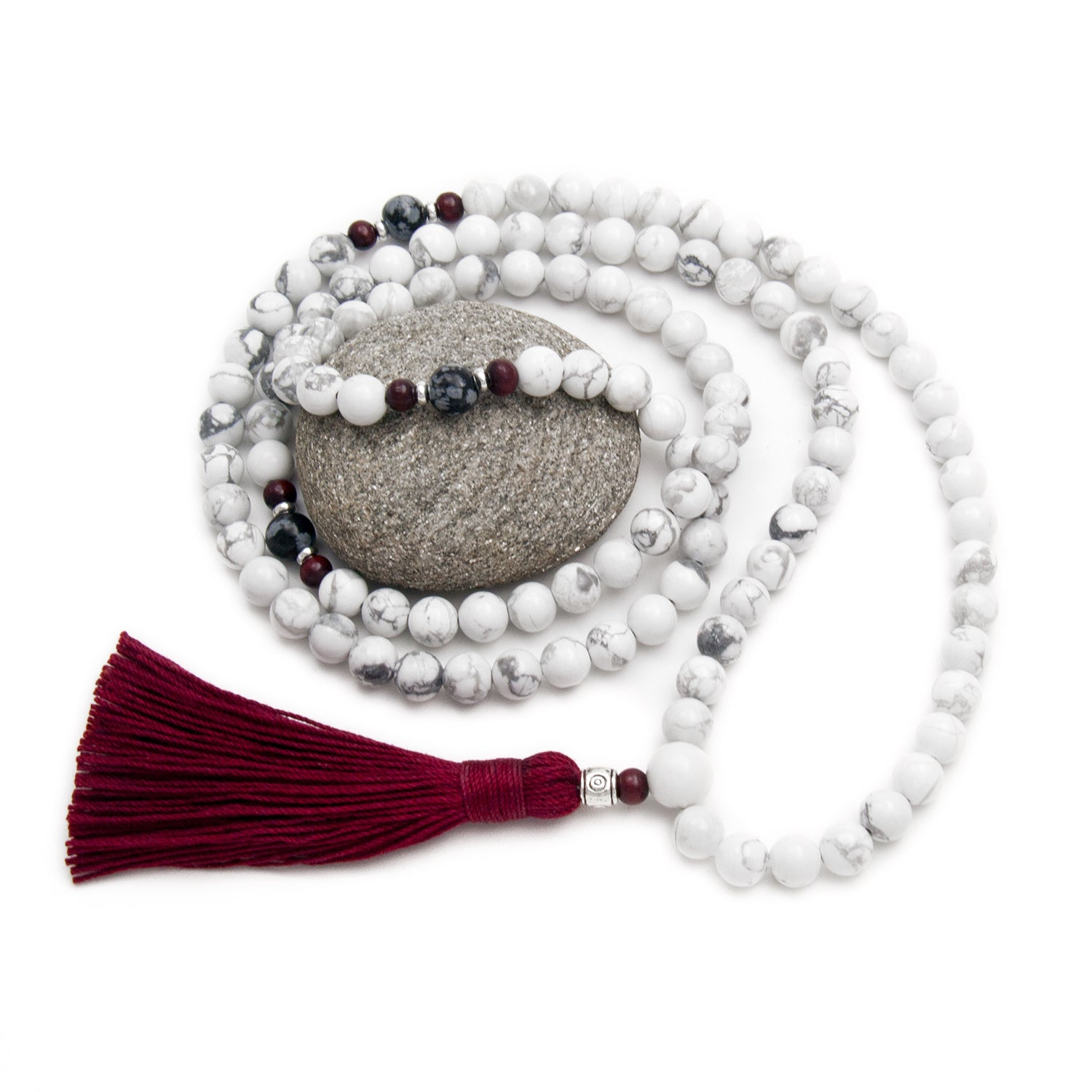 Calming Mala Necklace White Howlite with Obsidian - Red Tassel